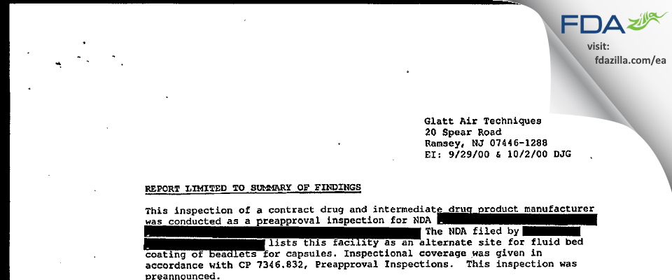 Glatt Air Techniques FDA inspection 483 Oct 2000