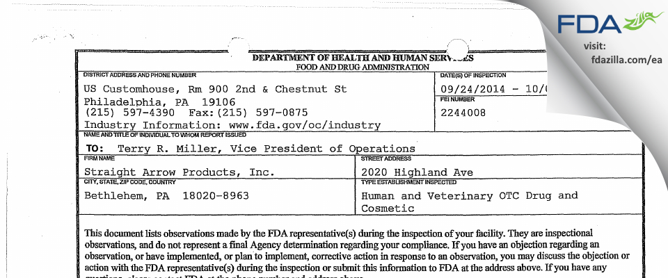 Straight Arrow Products FDA inspection 483 Oct 2014