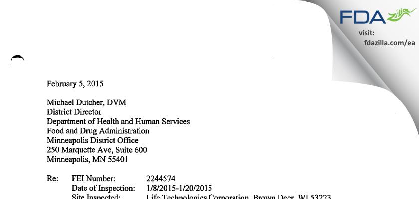 Life Technologies FDA inspection 483 Jan 2015