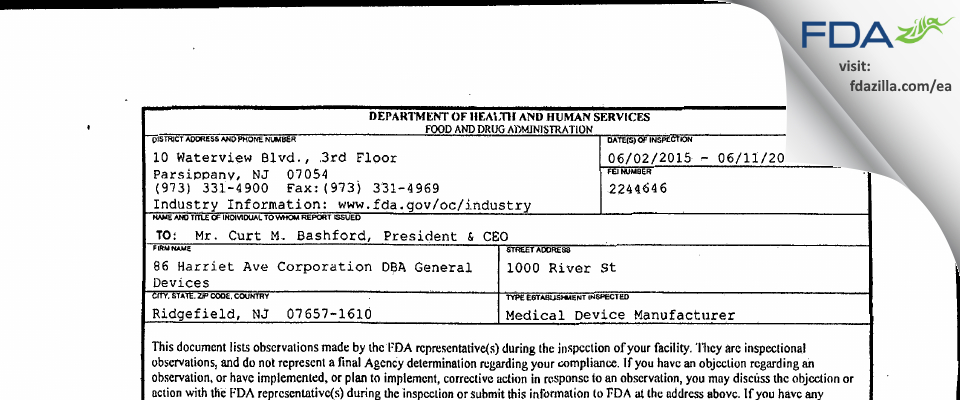86 Harriet Ave DBA General Devices FDA inspection 483 Jun 2015