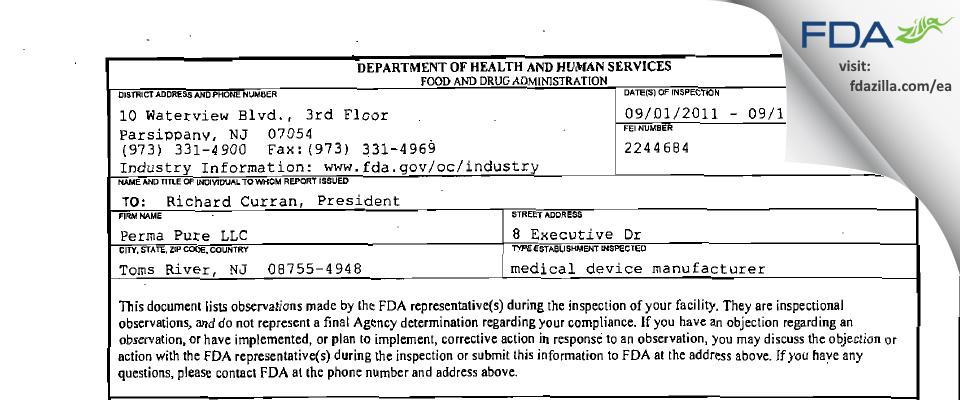 Perma Pure FDA inspection 483 Sep 2011