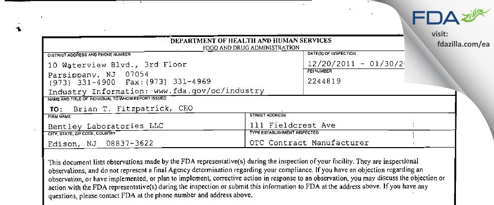 Bentley Labs FDA inspection 483 Jan 2012