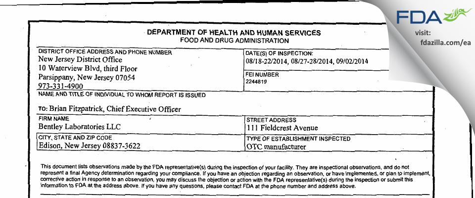 Bentley Labs FDA inspection 483 Sep 2014