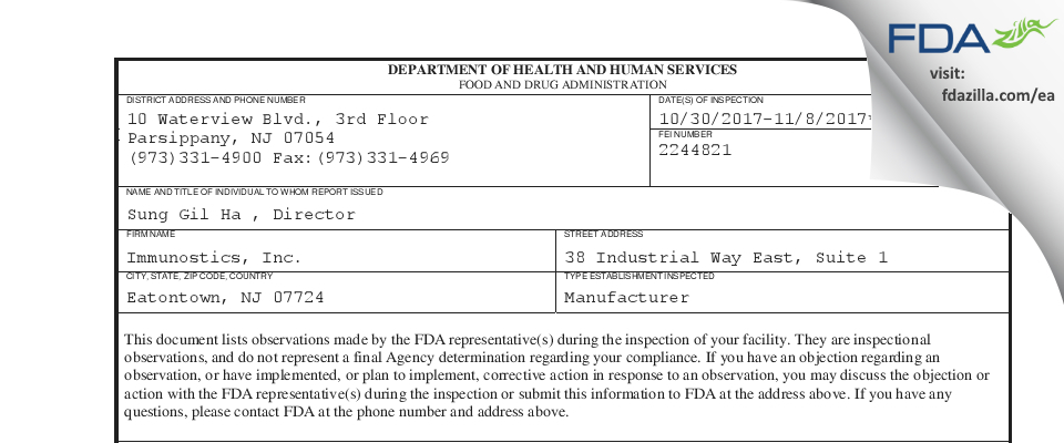 Immunostics FDA inspection 483 Nov 2017