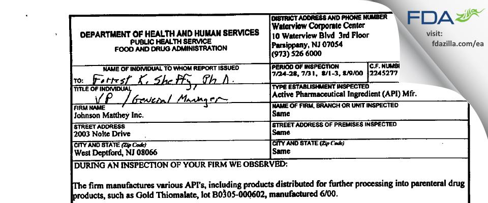 Johnson Matthey FDA inspection 483 Aug 2000