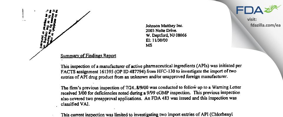 Johnson Matthey FDA inspection 483 Nov 2000