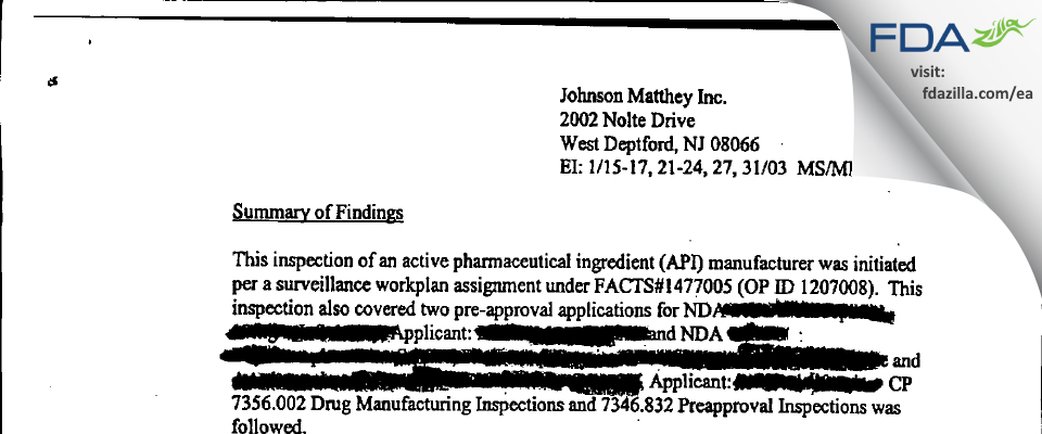 Johnson Matthey FDA inspection 483 Jan 2003