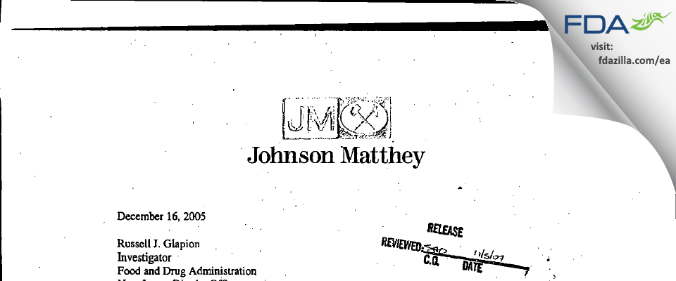 Johnson Matthey FDA inspection 483 Dec 2005