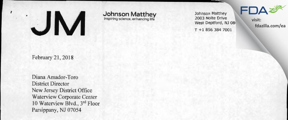 Johnson Matthey FDA inspection 483 Jan 2018