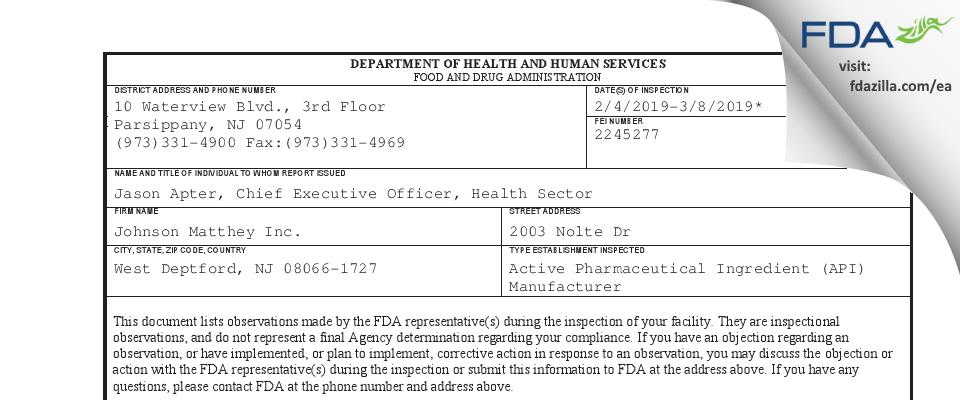 Johnson Matthey FDA inspection 483 Mar 2019