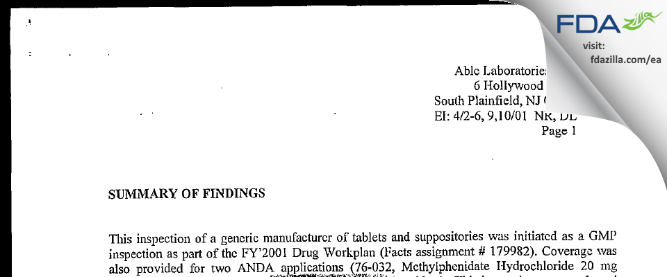 Able Labs FDA inspection 483 Apr 2001