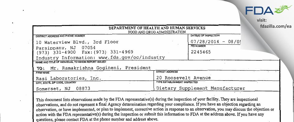Rasi Labs FDA inspection 483 Aug 2014