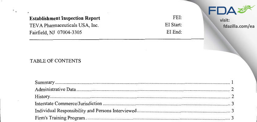 TEVA Pharmaceuticals USA FDA inspection 483 Mar 2012