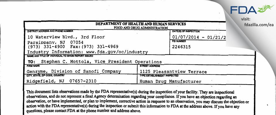Genzyme / Genzyme Biosurgery FDA inspection 483 Jan 2014