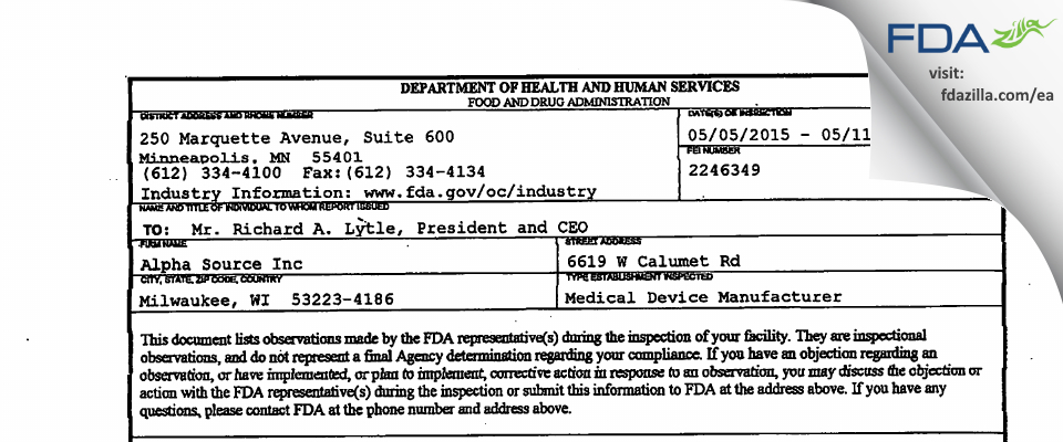 Alpha Source FDA inspection 483 May 2015