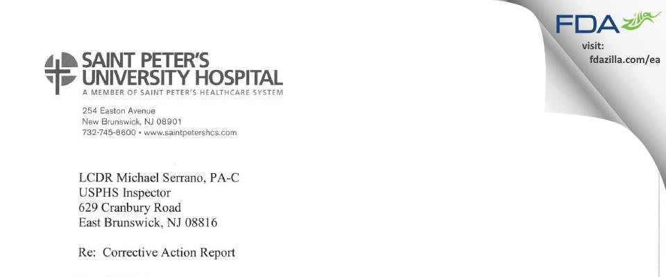 St. Peter's University Hospital - CPHSR FDA inspection 483 Oct 2015