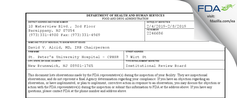 St. Peter's University Hospital - CPHSR FDA inspection 483 Feb 2019