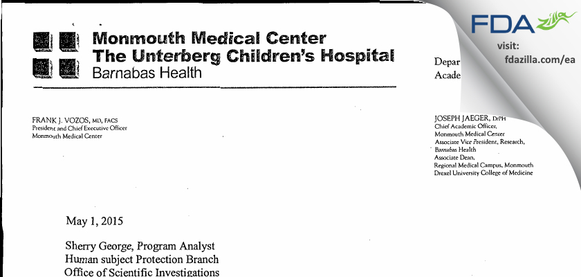 Monmouth Medical Center IRB FDA inspection 483 Apr 2015