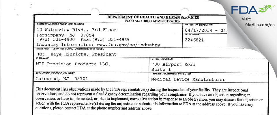 MTI Precision Products. FDA inspection 483 Apr 2014
