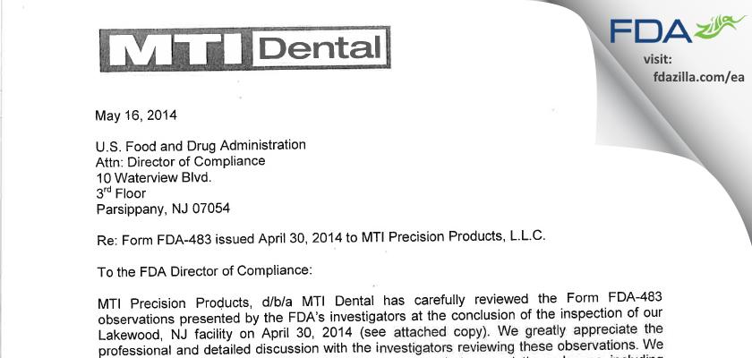 MTI Precision Products. FDA inspection 483 Apr 2014