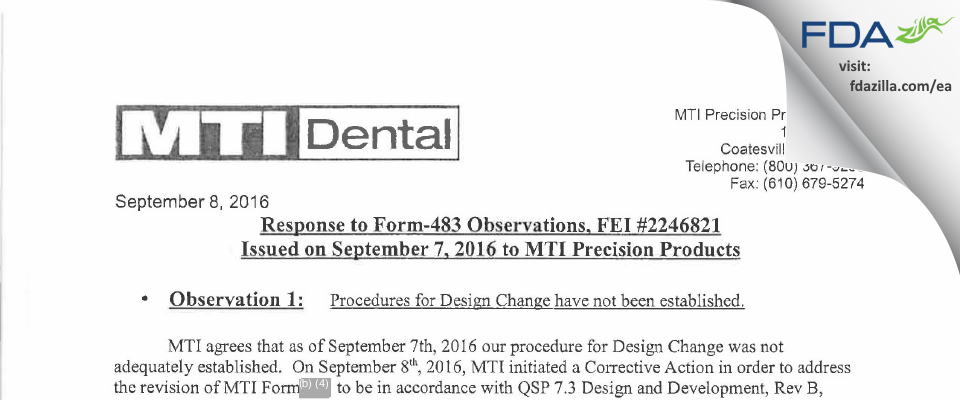MTI Precision Products. FDA inspection 483 Sep 2016