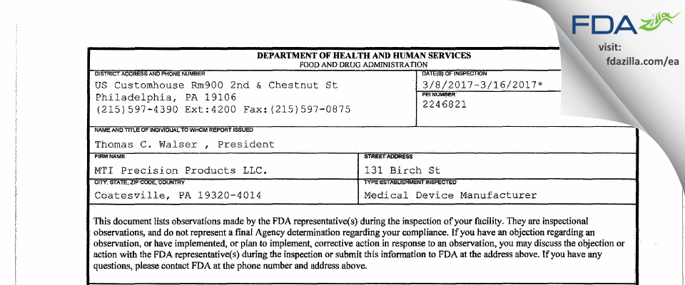 MTI Precision Products. FDA inspection 483 Mar 2017