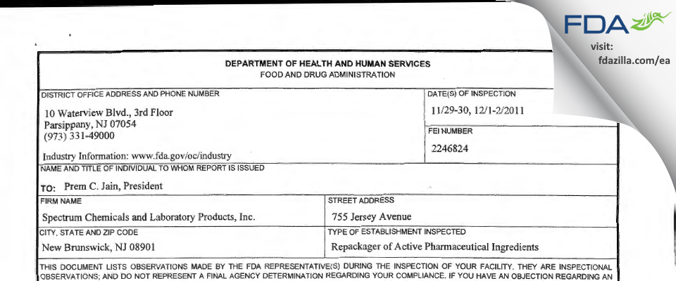Spectrum Laboratory Products FDA inspection 483 Dec 2011