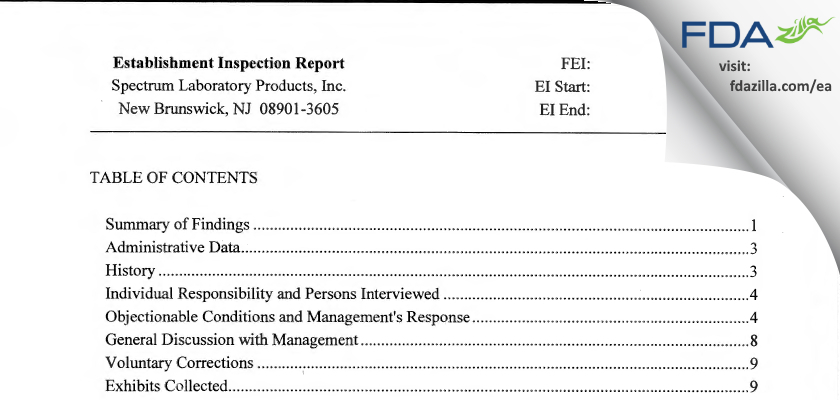 Spectrum Laboratory Products FDA inspection 483 Aug 2013