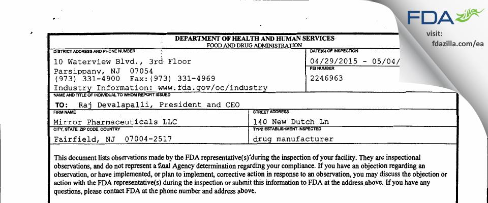 Ingenus Pharmaceuticals NJ. FDA inspection 483 May 2015