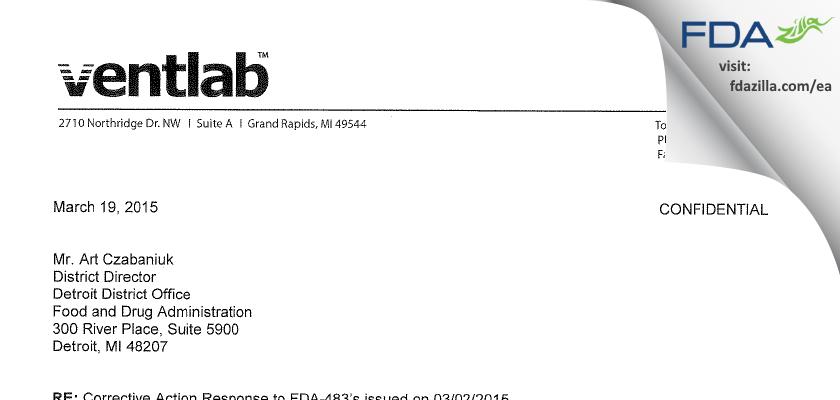Ventlab FDA inspection 483 Mar 2015