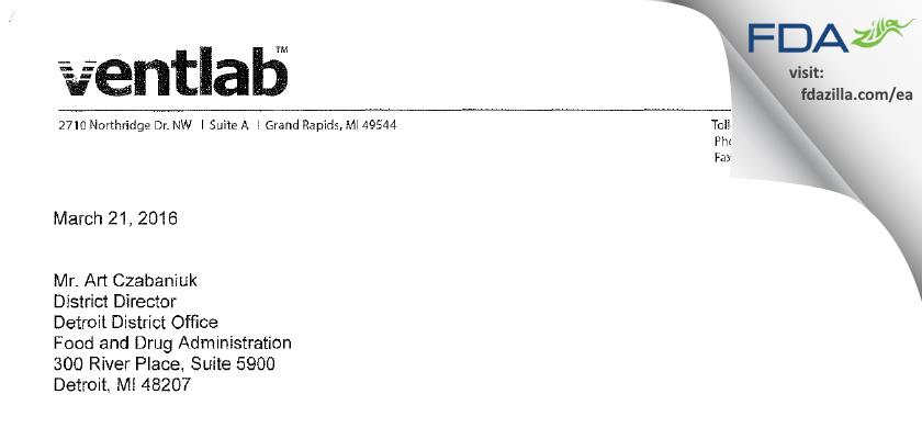 Ventlab FDA inspection 483 Mar 2016