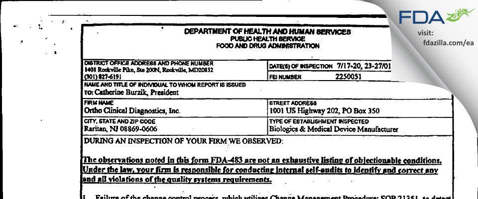 Ortho Clinical Diagnostics FDA inspection 483 Jul 2001