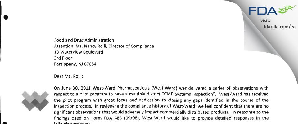 West-Ward Pharmaceuticals FDA inspection 483 Jun 2011