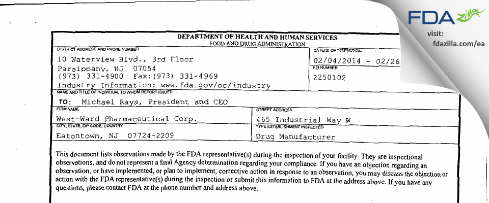 Hikma Pharmaceuticals USA FDA inspection 483 Feb 2014