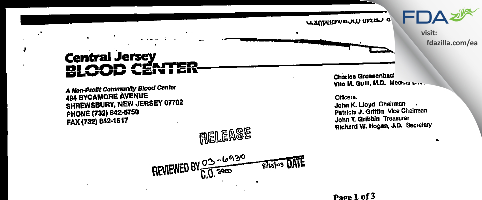 Central Jersey Blood Center FDA inspection 483 Apr 2001