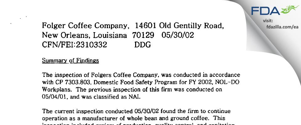 Folger Coffee Company FDA inspection 483 May 2002