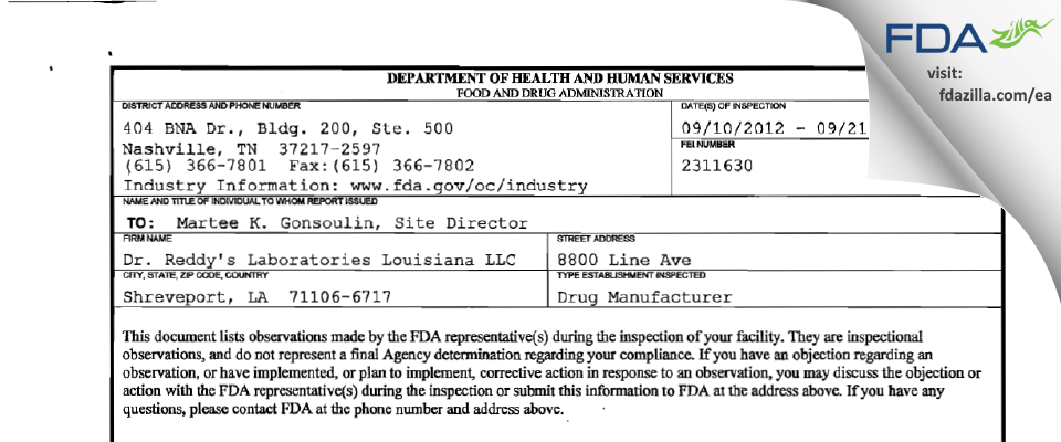 Dr. Reddy's Labs Louisiana FDA inspection 483 Sep 2012