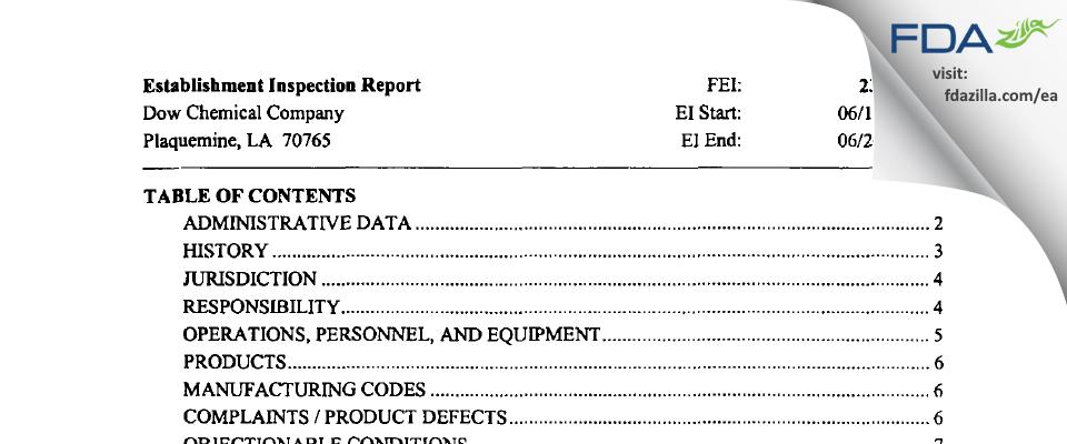 The Dow Chemical Company FDA inspection 483 Jun 2003