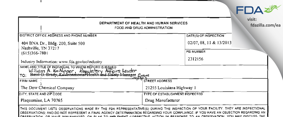 The Dow Chemical Company FDA inspection 483 Feb 2013