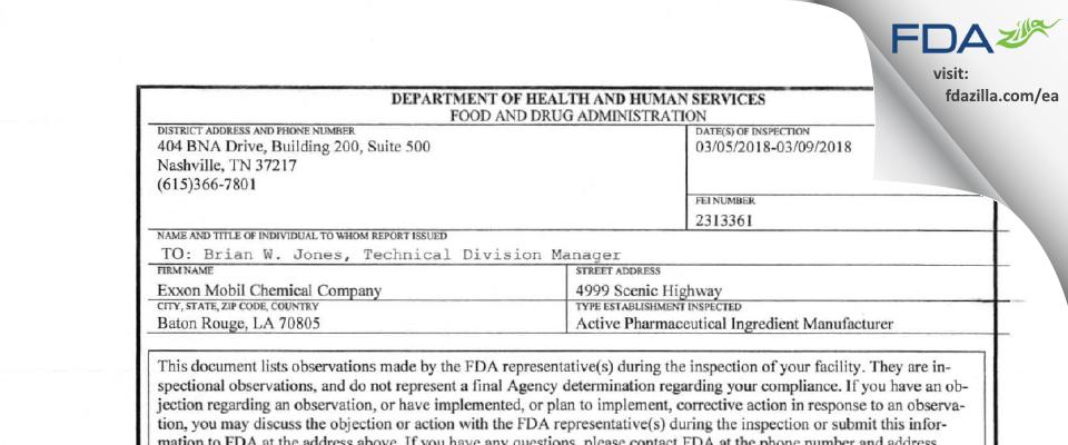 Exxonmobil Chemical Company FDA inspection 483 Mar 2018