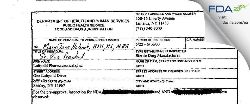 American Regent FDA inspection 483 Jun 2000