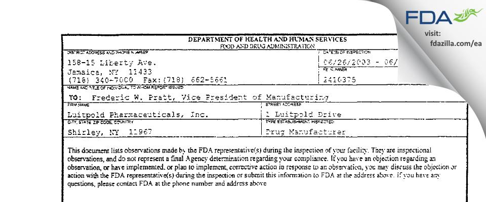 Luitpold Pharmaceuticals FDA inspection 483 Jun 2003