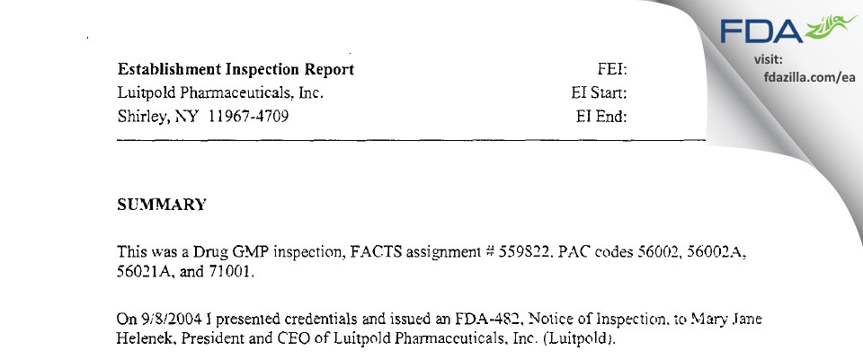 American Regent FDA inspection 483 Sep 2004