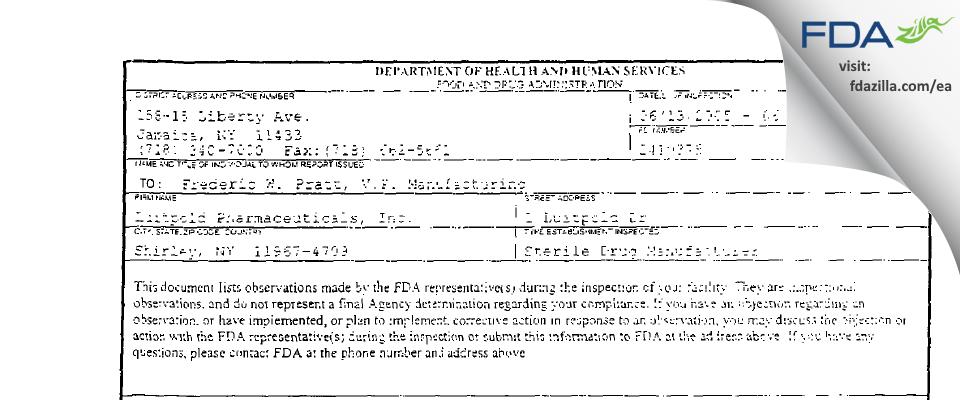 American Regent FDA inspection 483 Jun 2005