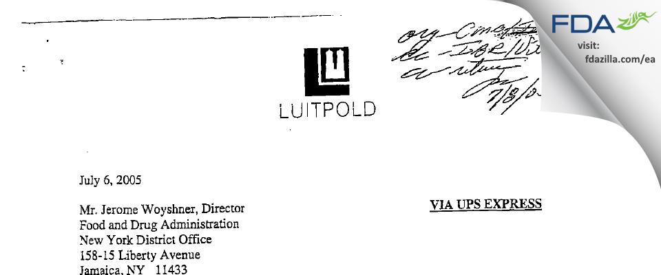 Luitpold Pharmaceuticals FDA inspection 483 Jun 2005