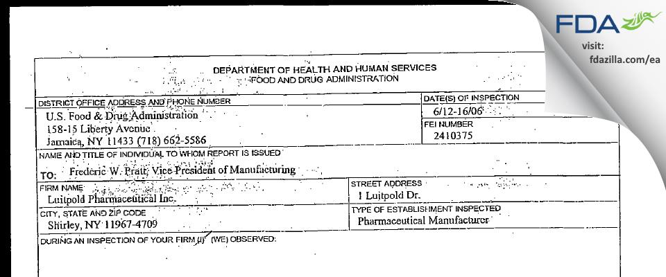 American Regent FDA inspection 483 Jun 2006