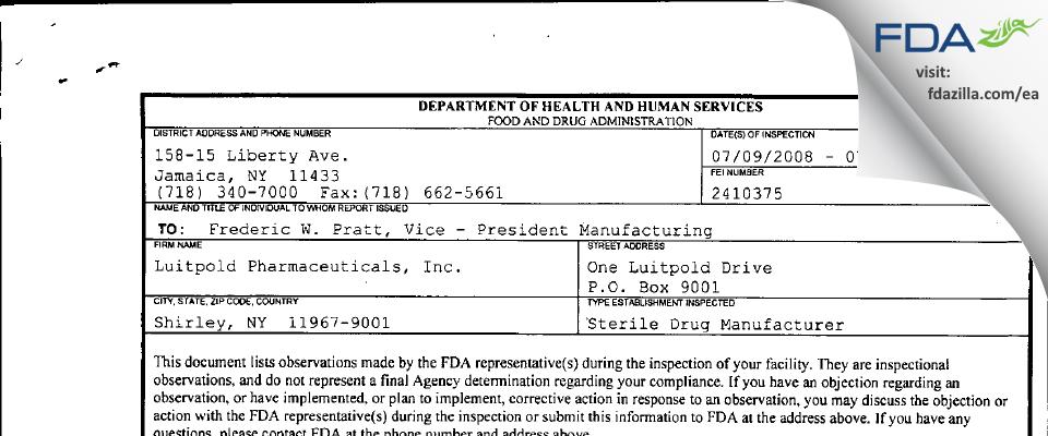 American Regent FDA inspection 483 Jul 2008