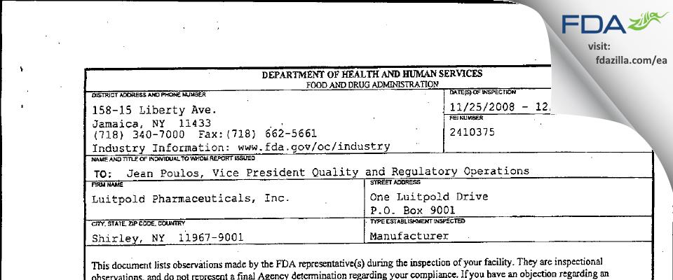 Luitpold Pharmaceuticals FDA inspection 483 Dec 2008