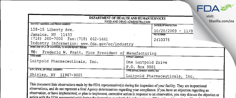 Luitpold Pharmaceuticals FDA inspection 483 Nov 2009