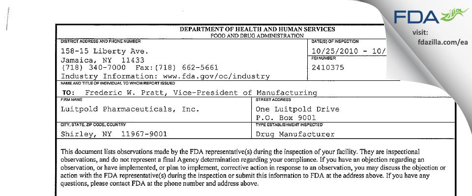 American Regent FDA inspection 483 Oct 2010